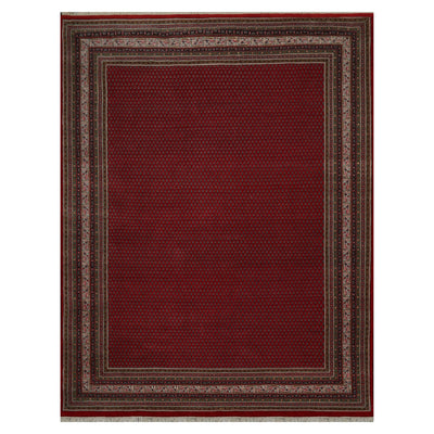 09' 00''x11' 10'' Red Sage Cream Color Hand Knotted Persian 100% Wool Traditional Oriental Rug