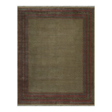 08' 11''x11' 10'' Light Sage Rose Black Color Hand Knotted Persian 100% Wool Traditional Oriental Rug