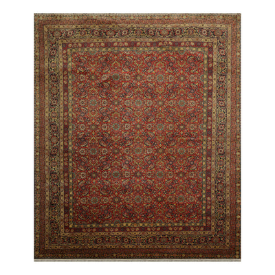 08' 00''x09' 09'' Peach Gold Midnight Blue  Color Hand Knotted Persian 100% Wool Traditional Oriental Rug