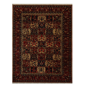06' 09''x09' 11'' Peach Warm Beige Navy Color Hand Knotted Persian 100% Wool Traditional Oriental Rug