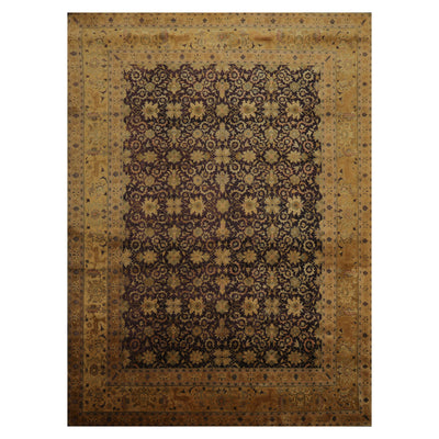 08' 08''x11' 09'' Chocolate Gold Tan Color Hand Knotted Persian 100% Wool Traditional Oriental Rug