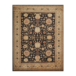 09' 00''x11' 11'' Dark Chocolate Camel Rust Color Hand Knotted Persian 100% Wool Traditional Oriental Rug