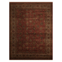 09' 00''x12' 01'' Rust Tan Green Color Hand Knotted Persian 100% Wool Traditional Oriental Rug
