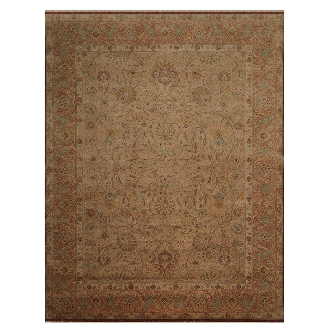 09' 02''x12' 00'' Tan Rust Aqua Color Hand Knotted Persian 100% Wool Traditional Oriental Rug