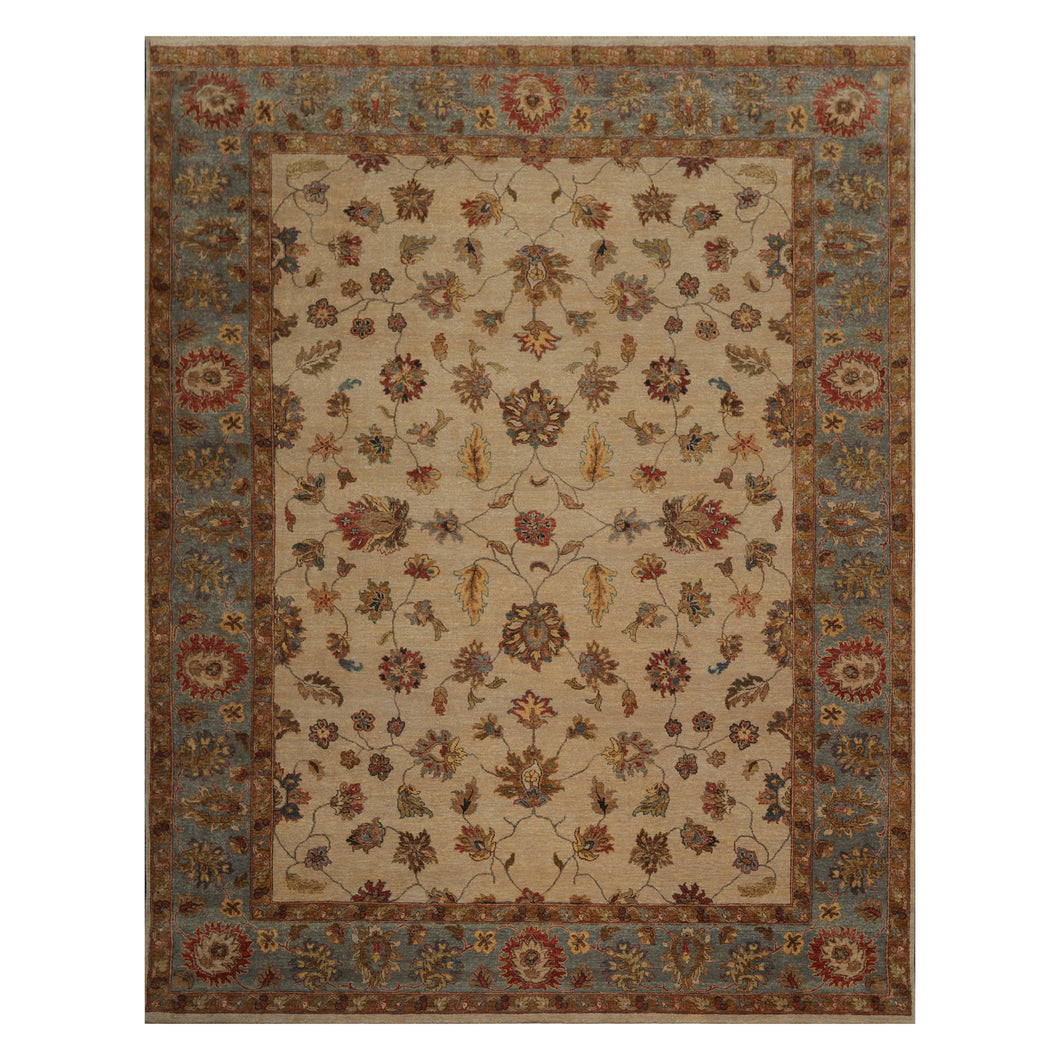 08' 08''x11' 10'' Beige Blue Rust Color Hand Knotted Persian 100% Wool Traditional Oriental Rug