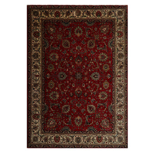 08' 06''x11' 07'' Red Beige Black Color Hand Knotted Persian 100% Wool Traditional Oriental Rug