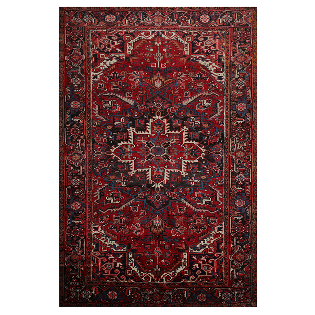 07' 03''x11' 01'' Red Charcoal Ivory Color Hand Knotted Persian 100% Wool Traditional Oriental Rug