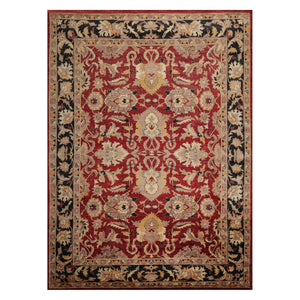 08' 06''x11' 07'' Rusty Red Charcoal Beige Color Hand Knotted Persian 100% Wool Traditional Oriental Rug