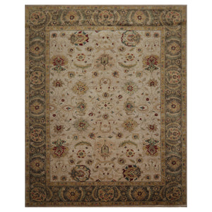 09' 03''x11' 10'' Beige Moss Light Gold Color Hand Knotted Persian 100% Wool Traditional Oriental Rug