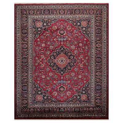 08' 04''x10' 10'' Ruby Red Black Ivory Color Hand Knotted Persian 100% Wool Traditional Oriental Rug