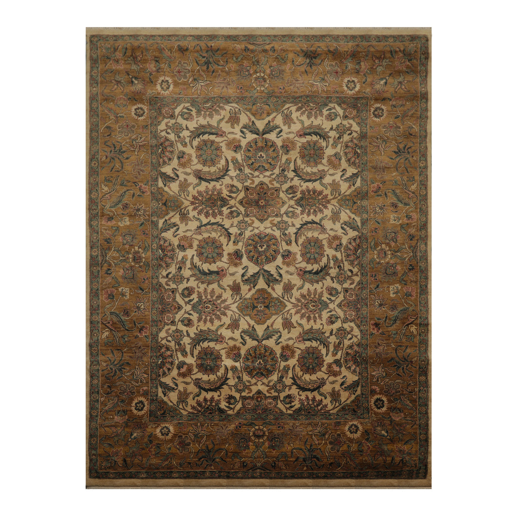 08' 09''x11' 09'' Beige Gold Aqua Color Hand Knotted Persian 100% Wool Traditional Oriental Rug