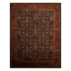 09' 01''x11' 07'' Midnight Blue  Coral Peach Color Hand Knotted Persian 100% Wool Traditional Oriental Rug