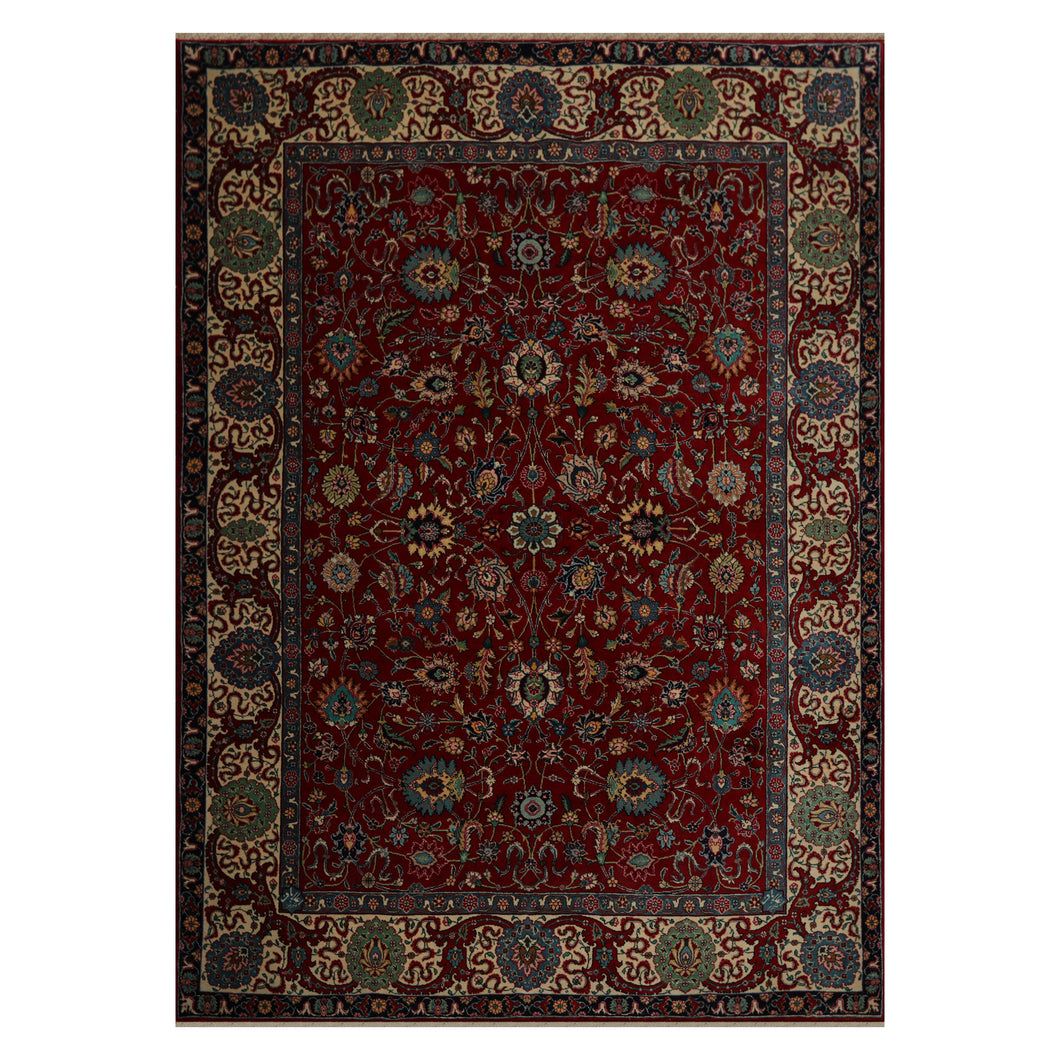 08' 04''x11' 03'' Red Ivory Blue Color Hand Knotted Persian 100% Wool Traditional Oriental Rug