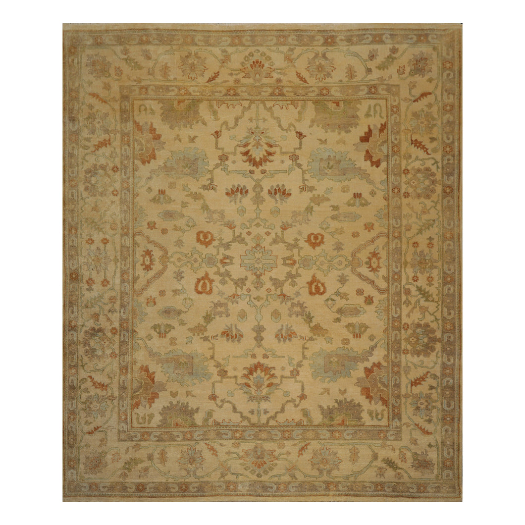 08' 10''x11' 06'' Warm Beige Sage Aqua Color Hand Knotted Persian 100% Wool Traditional Oriental Rug