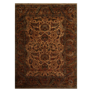 08' 01''x10' 07'' Light Peach Green Burnt Orange Color Hand Knotted Persian 100% Wool Traditional Oriental Rug