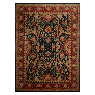 09' 03''x12' 06'' Dark Blue Ruby Red Tan Color Hand Knotted Persian 100% Wool Traditional Oriental Rug