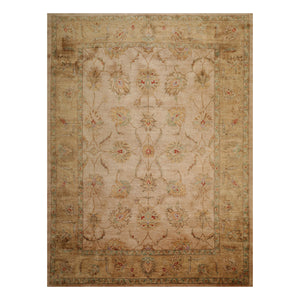 09' 00''x12' 00'' Beige Sage Rust Color Hand Knotted Persian 100% Wool Traditional Oriental Rug