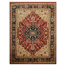 08' 07''x11' 03'' Burnt Orange Navy Beige Color Hand Knotted Persian 100% Wool Traditional Oriental Rug