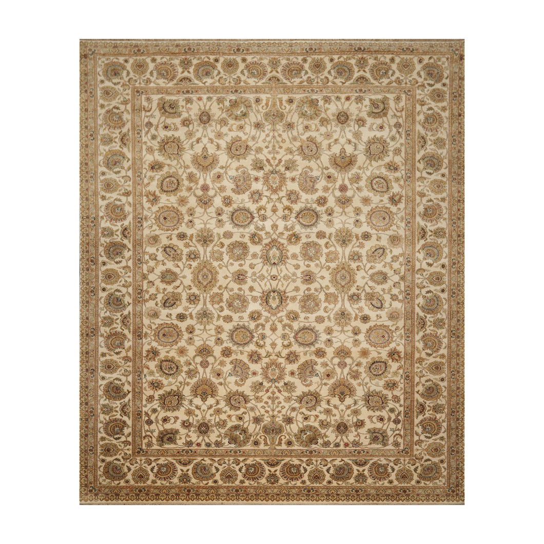 08' 07''x11' 05'' Beige Tan Green Color Hand Knotted Persian 100% Wool Traditional Oriental Rug