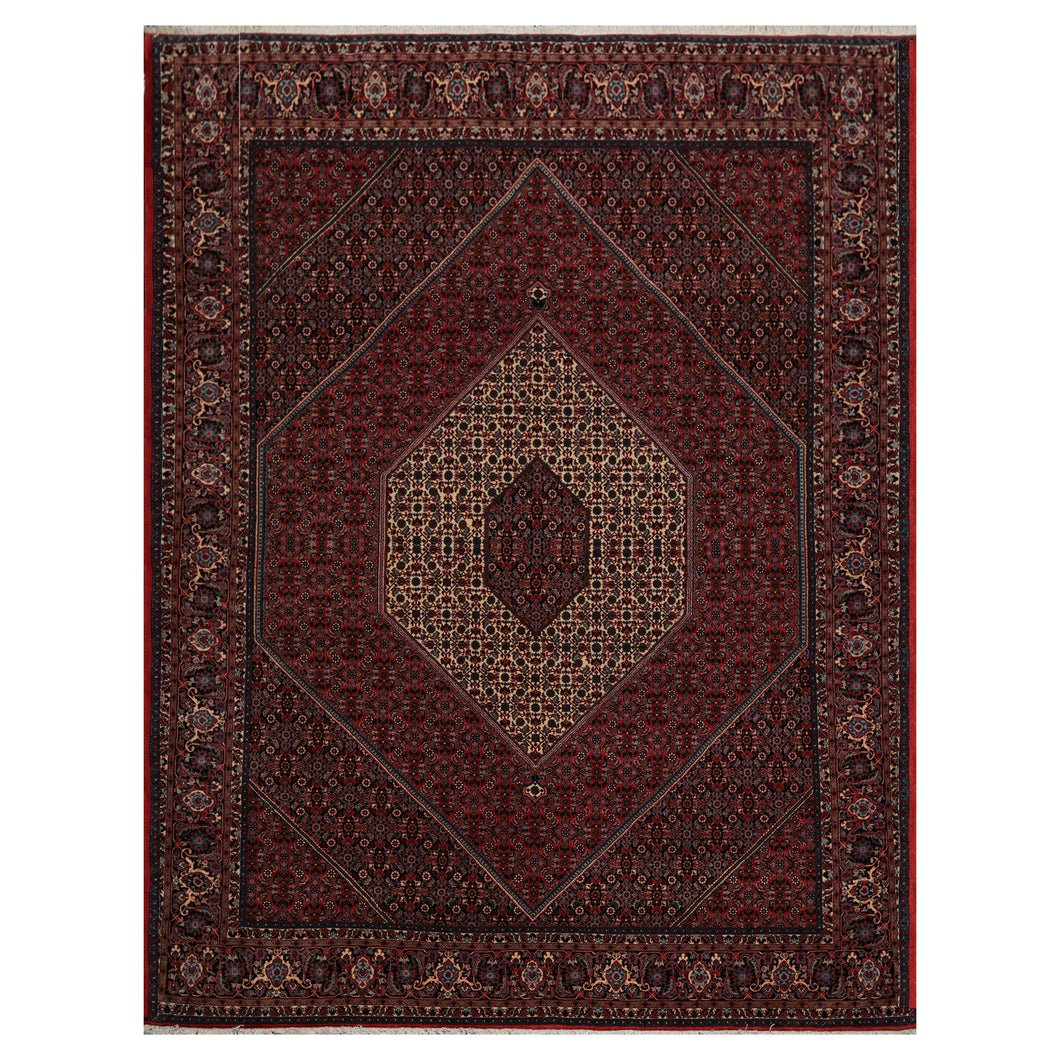 08' 03''x11' 07'' Red Rust Black Color Hand Knotted Persian 100% Wool Traditional Oriental Rug