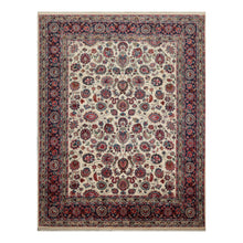 07' 09''x09' 10'' Ivory Navy Red Color Hand Knotted Persian 100% Wool Traditional Oriental Rug