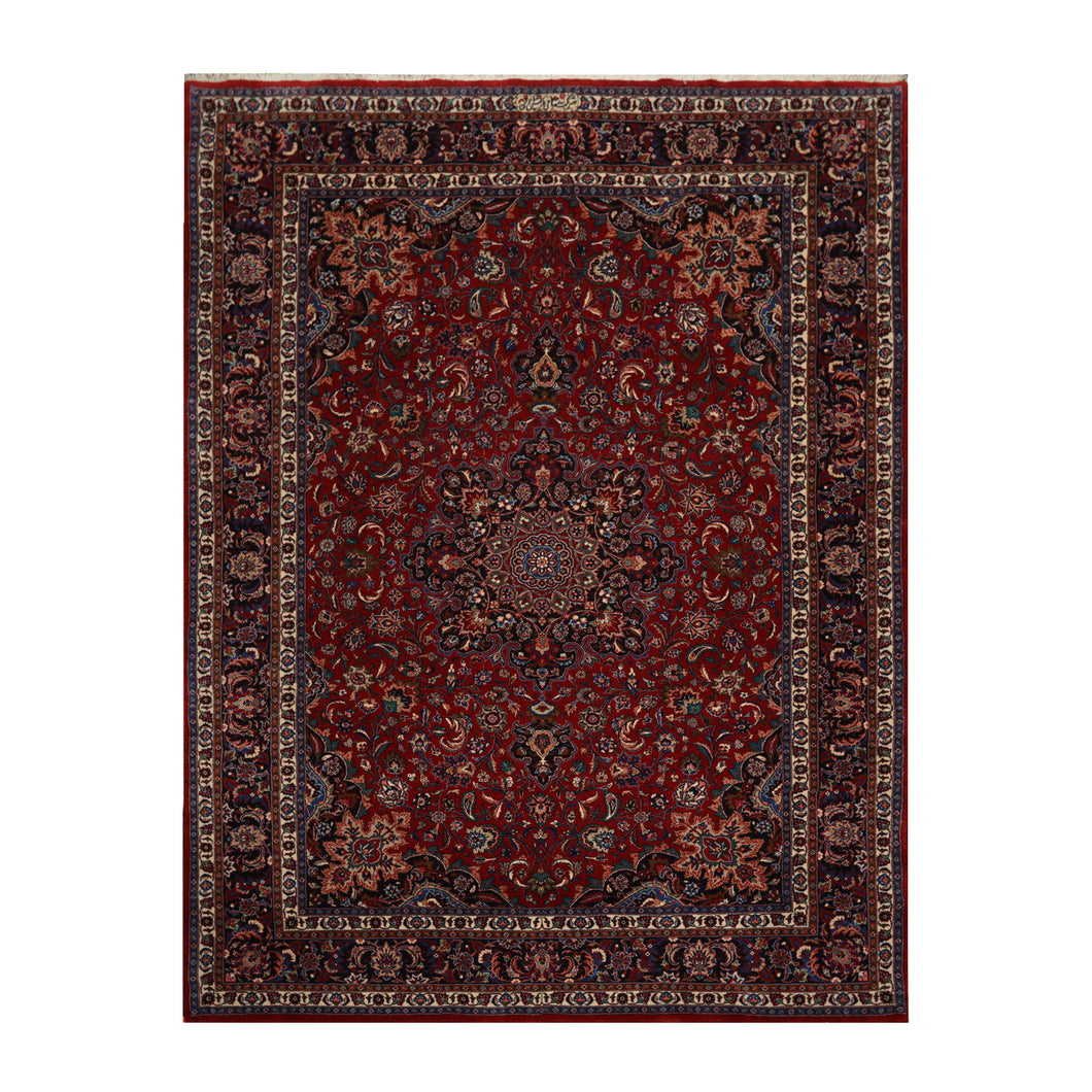08' 00''x11' 06'' Red Navy Ivory Color Hand Knotted Persian 100% Wool Traditional Oriental Rug