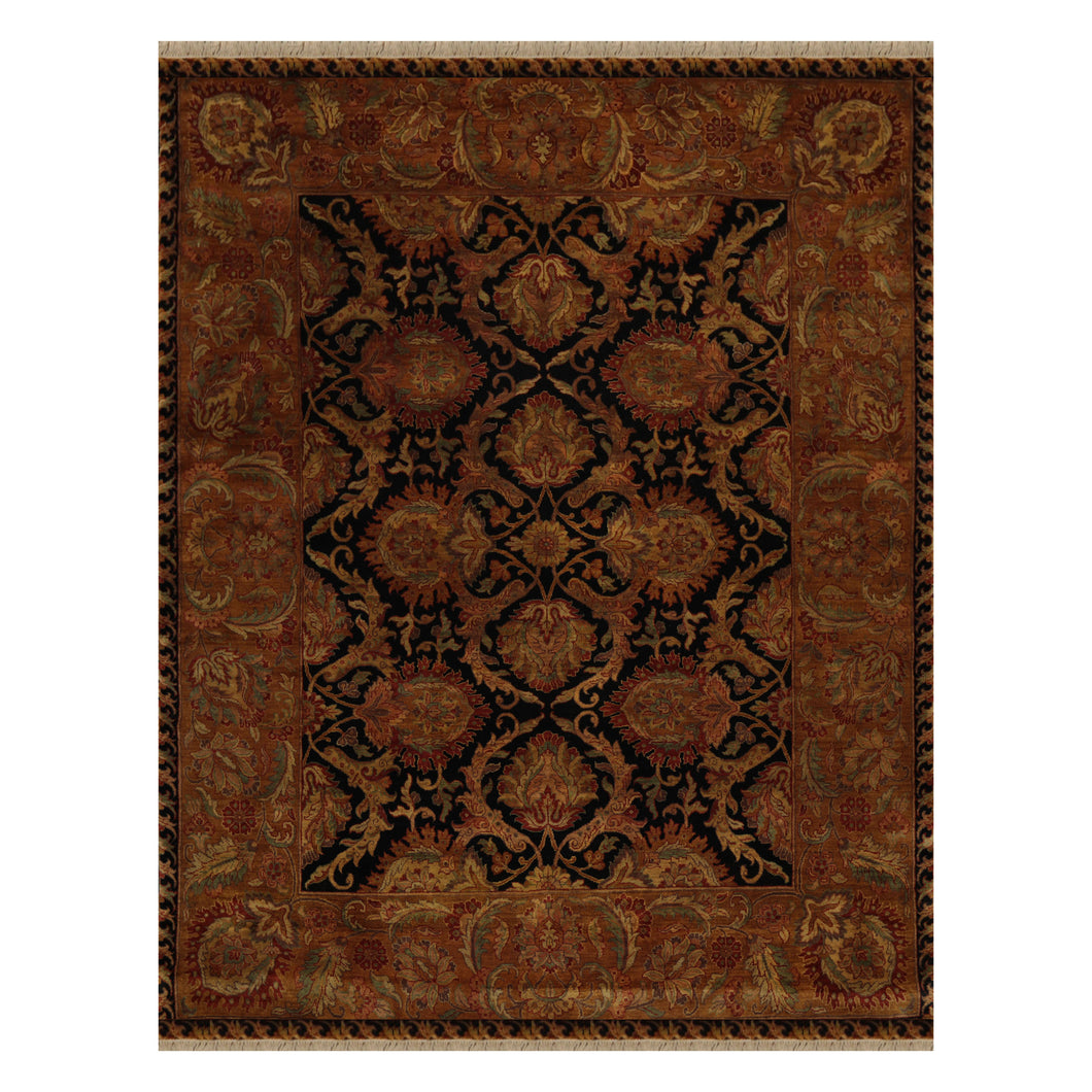 08' 00''x10' 01'' Black Gold Rust Color Hand Knotted Persian 100% Wool Traditional Oriental Rug