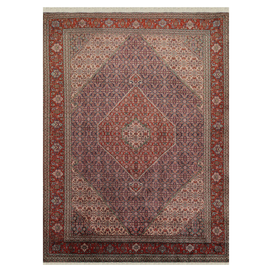 08' 01''x11' 01'' Navy Rust Ivory Color Hand Knotted Persian 100% Wool Traditional Oriental Rug