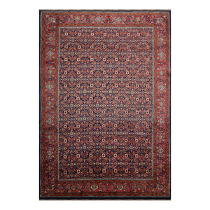 06' 10''x10' 05'' Navy Salmon Ivory Color Hand Knotted Persian 100% Wool Traditional Oriental Rug