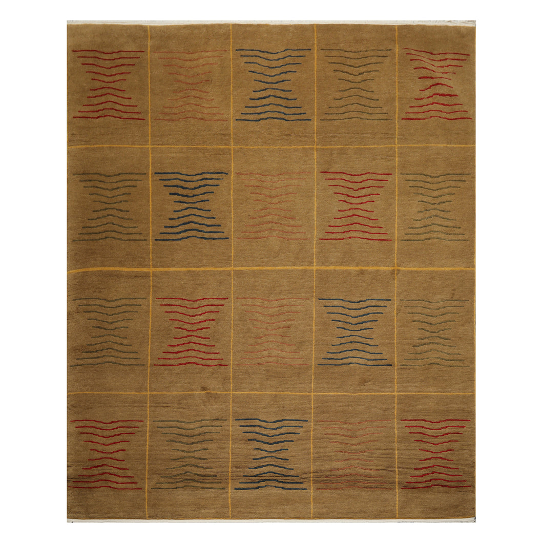 07' 11''x09' 10'' Brown Gold Red Color Hand Knotted Tibetan 100% Wool Modern & Contemporary Oriental Rug