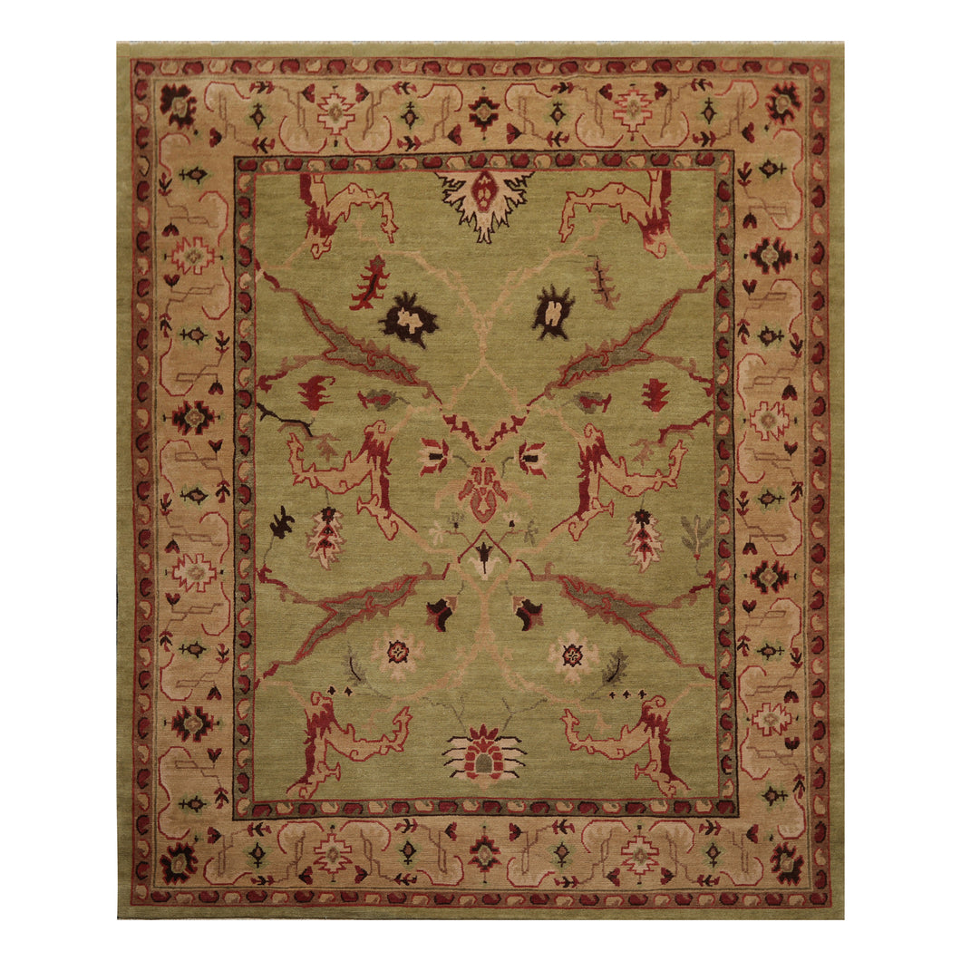 08' 02''x09' 11'' Sage Taupe Rose Color Hand Knotted Tibetan 100% Wool Traditional Oriental Rug