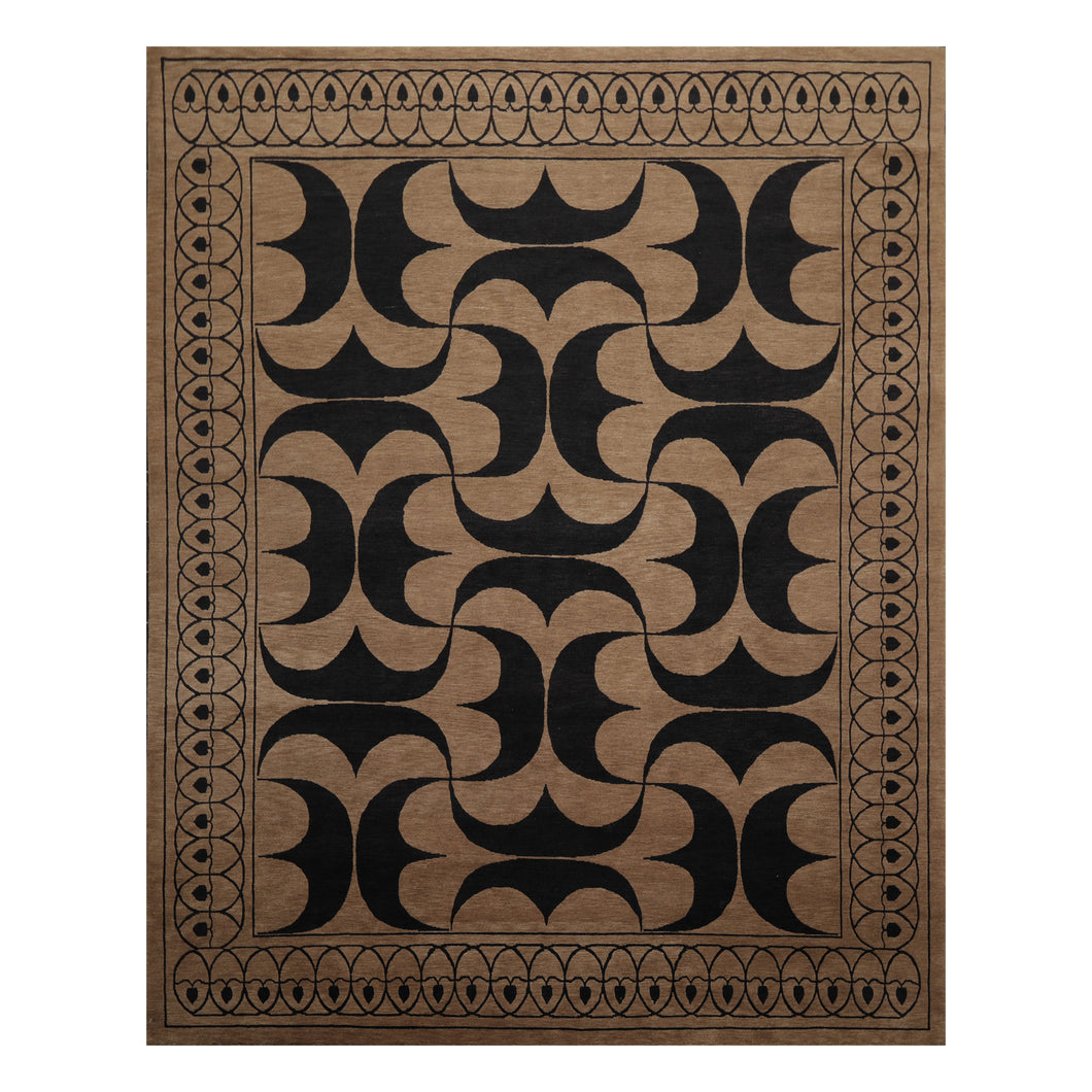 07' 11''x10' 07'' Taupe Brown Black Color Hand Knotted Tibetan 100% Wool Modern & Contemporary Oriental Rug