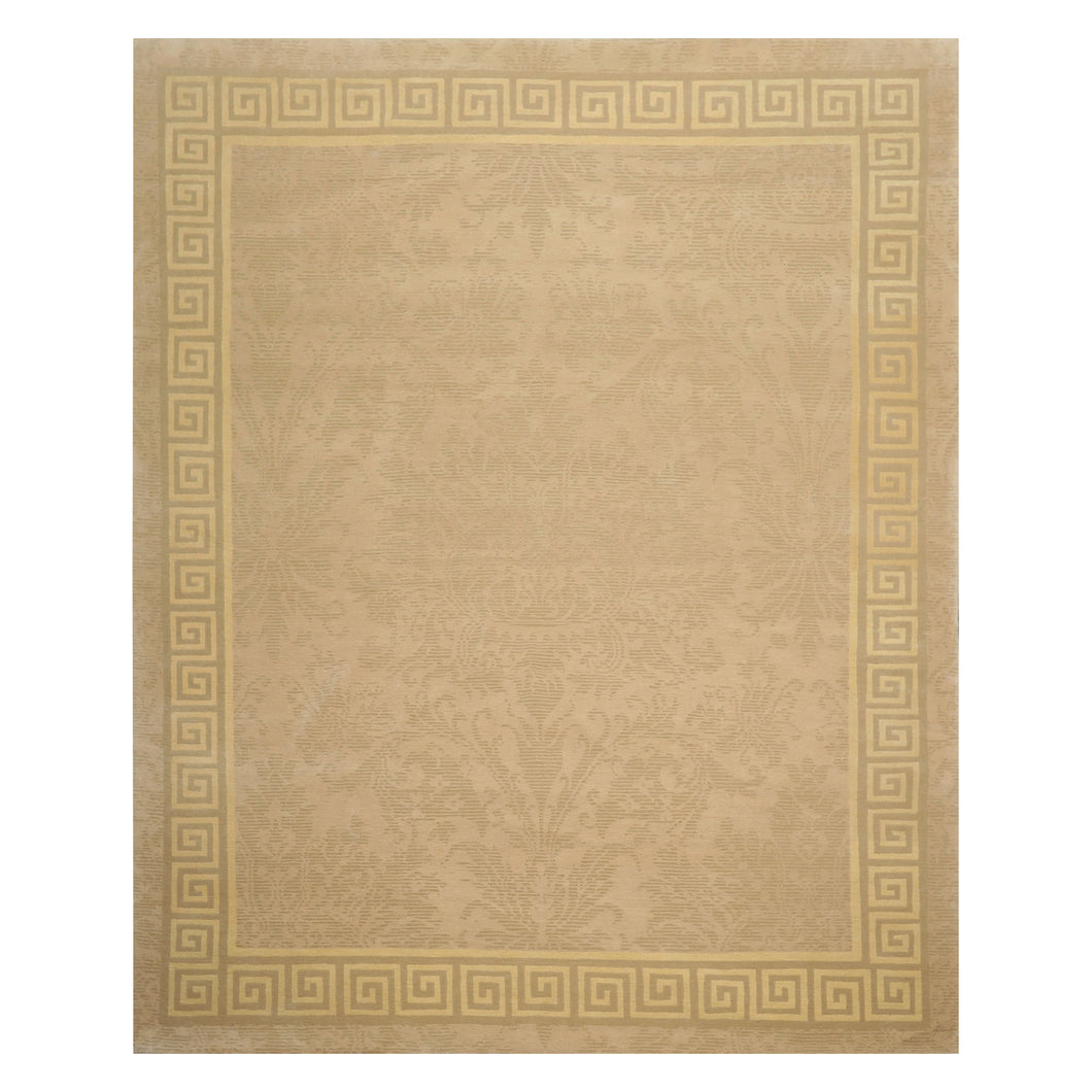 08' 00''x09' 09'' Beige Gray Light Gold Color Hand Knotted Tibetan 100% Wool Traditional Oriental Rug