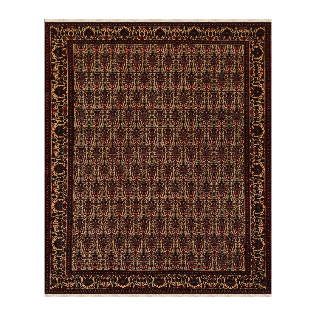 06' 10''x09' 10'' Ivory Rust Turquoise Color Hand Knotted Persian 100% Wool Traditional Oriental Rug
