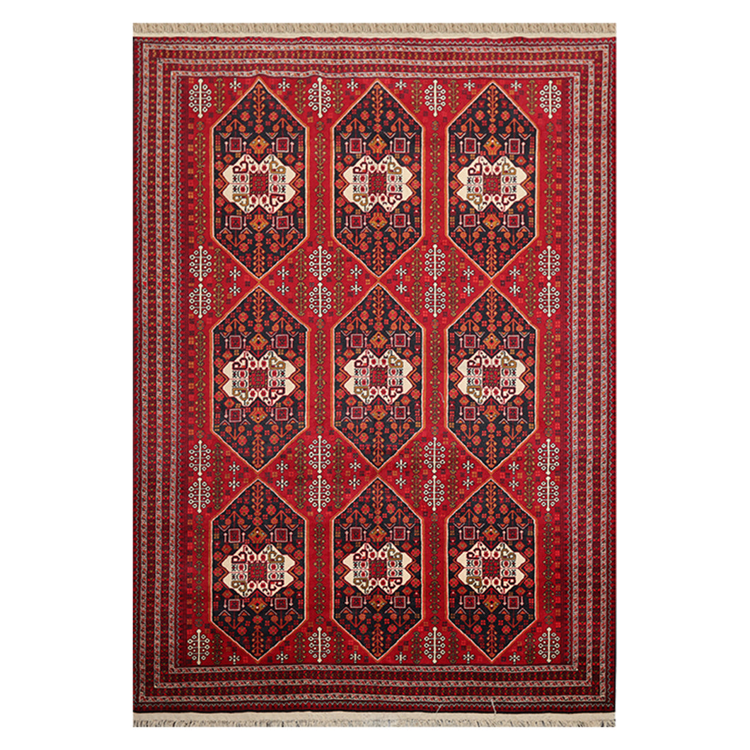 06' 06''x09' 06'' Red Black Cream Color Hand Knotted Persian 100% Wool Traditional Oriental Rug
