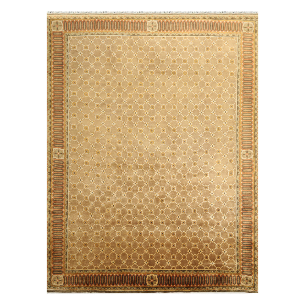 07' 09''x09' 10'' Brown Gold Burnt Orange Color Hand Knotted Tibetan 100% Wool Traditional Oriental Rug
