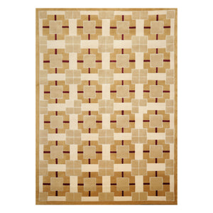 07' 10''x10' 10'' Brown Tan Cream Color Hand Knotted Tibetan Wool and Silk Modern & Contemporary Oriental Rug