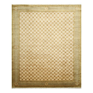 08' 00''x09' 11'' Tan Brown Green Color Hand Knotted Tibetan 100% Wool Modern & Contemporary Oriental Rug