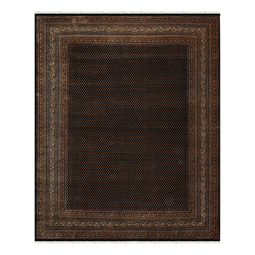 08' 00''x10' 00'' Black Taupe Beige Color Hand Knotted Persian 100% Wool Traditional Oriental Rug