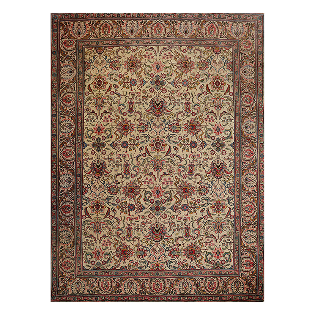 09' 03''x12' 06'' Beige Rose Blue Color Hand Knotted Persian 100% Wool Traditional Oriental Rug