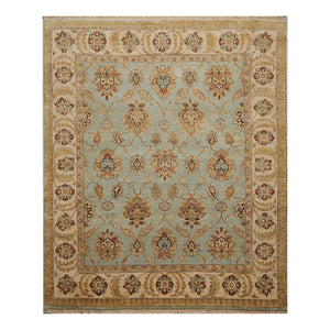 07' 09''x09' 06'' Aqua Beige Taupe Color Hand Knotted Persian 100% Wool Traditional Oriental Rug