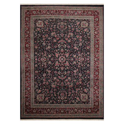 08' 10''x12' 04'' Navy Burgundy Gray Color Hand Knotted Persian 100% Wool Traditional Oriental Rug