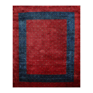 08' 01''x09' 08'' Red Blue Gold Color Hand Knotted Persian 100% Wool Traditional Oriental Rug