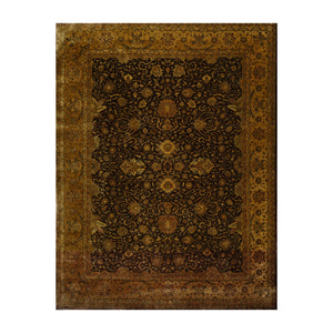 08' 08''x11' 04'' Chocolate Gold Sage Color Hand Knotted Persian 100% Wool Traditional Oriental Rug