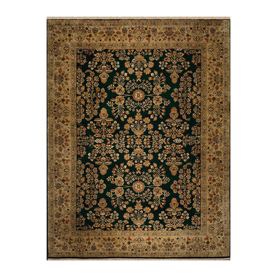 08' 11''x11' 08'' Midnight Blue  Tan Gold Color Hand Knotted Persian 100% Wool Traditional Oriental Rug