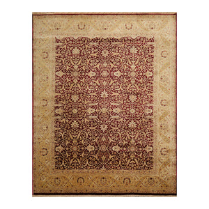 07' 10''x10' 01'' Maroon  Tan Gold Color Hand Knotted Persian 100% Wool Traditional Oriental Rug