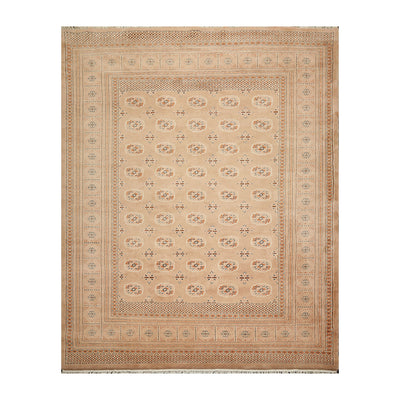 08' 03''x10' 05'' Apricot Ivory Black Color Hand Knotted Persian 100% Wool Traditional Oriental Rug
