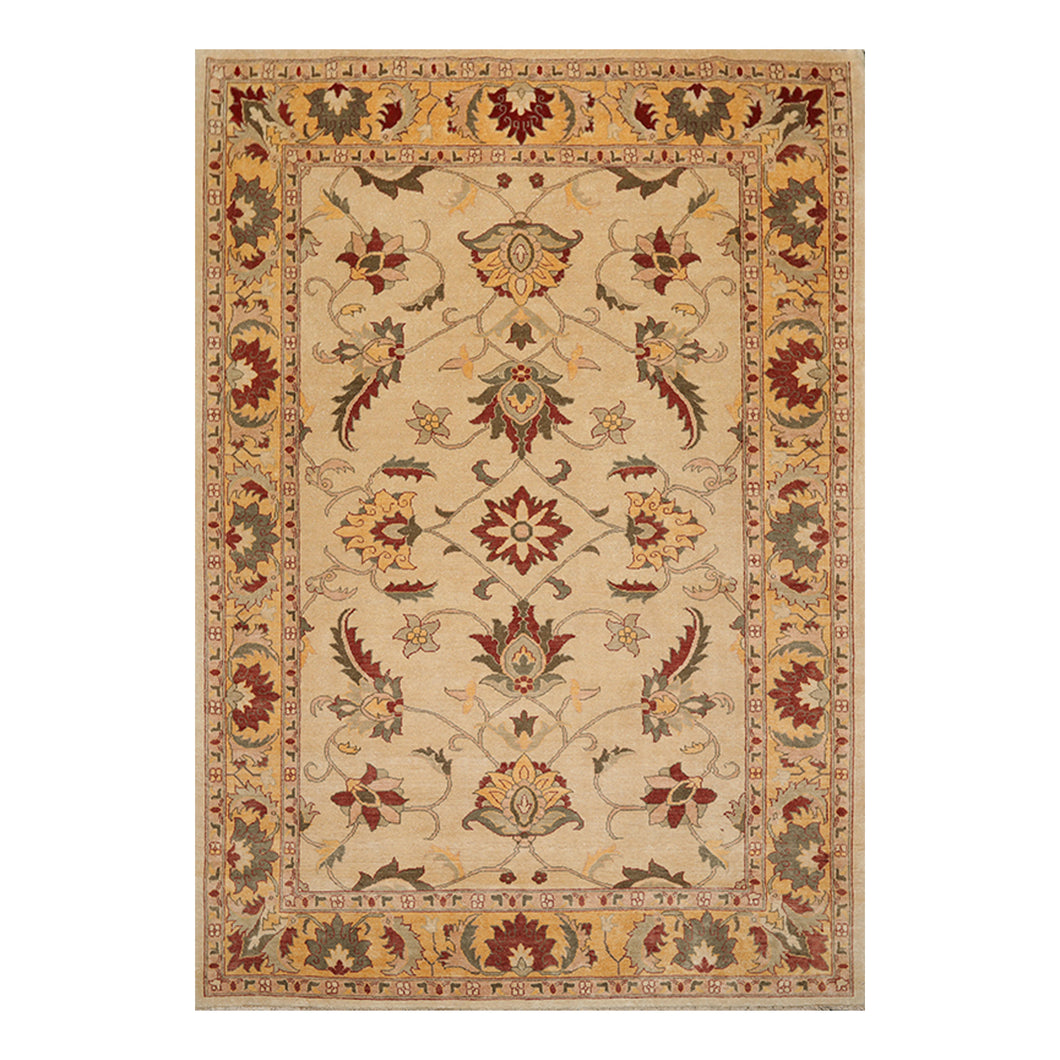 07' 06''x10' 09'' Beige Light Caramel Rust Color Hand Knotted Persian 100% Wool Traditional Oriental Rug