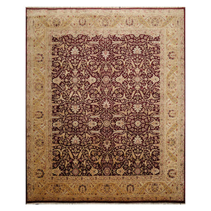 07' 10''x09' 08'' Maroon  Tan Beige Color Hand Knotted Persian 100% Wool Traditional Oriental Rug