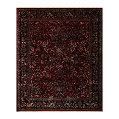 08' 01''x09' 11'' Burgundy Midnight Blue  Beige Color Hand Knotted Persian 100% Wool Traditional Oriental Rug